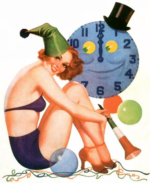 New Year - 1938 by Earle Bergey