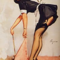 Complete the Cycle of a Chore Image CLEAN_SWEEP_1963_by Gil Elvgren